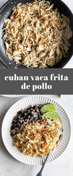 Cuban-Style Crispy Shredded Chicken (Vaca Frita de Pollo) , Easy-to-make Cuban crispy shredded chicken with homemade mojo marinate, pan-fried with sautéed onions. Great use for leftover chicken! Crispy Shredded Chicken, Crispy Beef, Mexican Shredded Chicken, Shredded Chicken Recipes, Easy Baked Chicken, Cuban Chicken, Chicken Taco Recipes, Pollo Chicken, Eating Clean