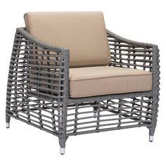 Modern Open Weave Arm Chair Gray/Beige - ZM Home : Target