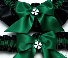Irish Wedding Garter Set Made With Clover By CreativeGarters On