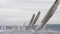 Alfa Romeo 2 leads Wild Oats XI and ICAP Leopard out of Sydney Harbor at the Rolex Sydney to Hobart Yacht Race 2009. Photo credit: TORSTEN BLACKWOOD #sailing #yachting #sails #sail #northsails #wind #waves #sailboat #maxiyacht #supermaxi #superyacht #yacht #sport #racing #yachtracing #crew #sailingstagram #secretsailing #wildoatsxi #woxi #wildoats #rshyr #rshyr2009 #sydneyhobart #sydneytohobart2009 #alfaromeoyacht #alfaromeo2 #icapleopard #rp100 #reichelpugh