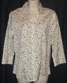 $18.99 + Free Shipping.   Eddie Bauer Wrinkle Resistant White Green Blue Leaf Pattern Career Shirt Top M