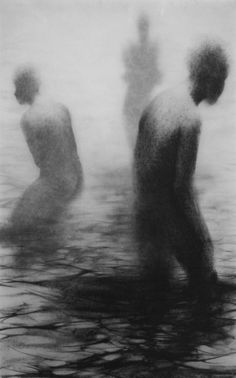 """Clara Lieu, """"Unseen III"""", lithographic crayon on Dura-Lar, 48"""" x 30"""", 2009. This drawing is from """"Wading"""", a project that presents the most severe form of isolation as loneliness that is experienced when physically surrounded by other people.  These works depict figures wading in an infinite and undefined body of water.  I visually portray loneliness as the experience of feeling unseen and unknown within a group."""