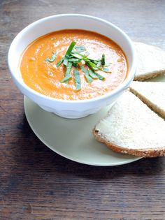 Creamy Tomato Soup - Kitchenist Blog  Mmm, hello. I foresee soup and grilled cheese sandwiches in my future.
