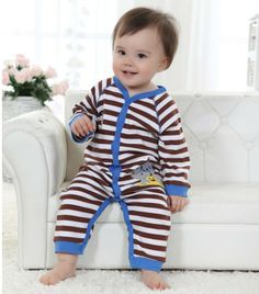 Bodysuits & One-pieces Logical Korean Baby Romper Childrens Clothing Spring Coveralls Custom Toddler Clothes Stripe Romper+hat Baby Boy Girls Suit