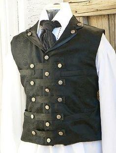 http://mysteampunkfashion.com/, male vest, buttons, steampunk vest, brass buttons, military vest