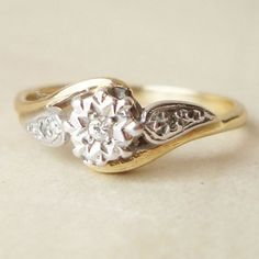 Vintage Engagement R  Vintage Engagement Ring, Solitaire Diamond Ring, Wedding Ring, Vintage Diamond and 9k Gold Ring Approximate Size US 6. $168.00, via Etsy.