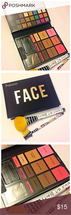 Profusion FACE: Multi Face/Lip Palette Multi face/lip palette by Profusion FACE. Includes: Eyeshadow matte/shimmer, Blush, Contour, Brow contour, Lipstick pot, Bronzer and Highlighter, Eyeliner pencil and brushes. (( yellow brushes in photo not included)).OFFERS WELCOME  NO TRADES ALL CLOTHES CLEANED BEFORE SHIPPING  SHIPPING WITHIN 1-3 DAYS Profusion Makeup Eyeshadow
