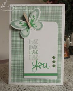 Love that the butterfly body is a clothespin that does its job and clips the butterfly onto the front card panel.  Cucumber Crush and Mint Macaroon are a cool combination on this handmade thank you card.