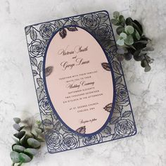 Laser Cut Wedding Invitation, Navy Couture Pink Roses in Double Sided Personalized Frame with Intricate Floral Motif, Die Cut, Mirror Wedding Day Invitations, Inexpensive Wedding Invitations, Wedding Stationery, Wedding Cards, Wedding Events, Wedding Themes, Wedding Ideas, Wedding Dresses, Invitation Envelopes