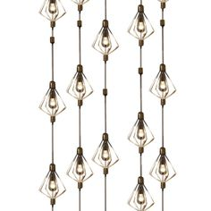 Wall of Light  Germany  mid 20th Century  symmetrical plexi snowflake lights    strung up and down vertical wire each string at staggered lengths,65 lights total    Condition*  Good  Measurements  height: 10 ft. 8 in. (325 cm)  second height: 12 ft. (366 cm)  diameter: 9 in. (23 cm)  SOLD