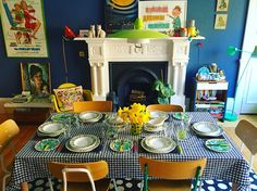 Dining room. Sweet Home, Table Settings, Dining Room, House Beautiful, Place Settings, Dining Rooms, Restaurant, Tablescapes