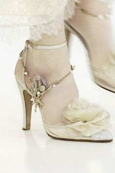 "Chanel sweet shoes with floral accent and a touch of dazzle. Chanel is the ultimate ""shabby chic."""