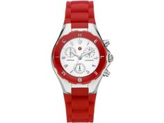 MICHELE Tahitian Jelly Bean Stainless red Chrono Watch #MWW12D000007 NEW