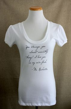 Jane Eyre Tshirt// Mr. Rochester Quote // Women's White Shirt on Etsy, $19.00