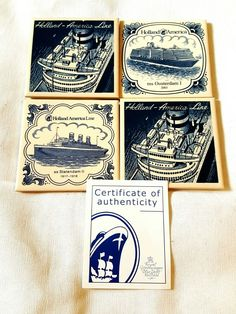 4 Holland America Line Coasters Blue and White Delftware With a Certificate