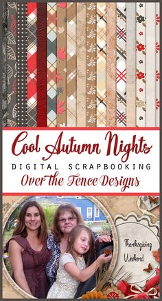 Rich and lovely digital scrapbooking collection by Over the Fence Designs.  Cool Autumn Nights -  This rich palette of red, charcoal, creamy grey and browns is perfect for autumn.  As the days get shorter and the nights longer I am reminded I have books to read and sewing to do.  I do love autumn!