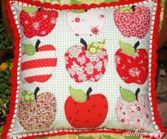 fall apple pillow with crochet edging!!  <3 <3 <3