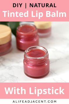 Learn how to make your own easy DIY lip balm with lipstick! Don't throw away old lipsticks – upcycle them! All you need is a few natural ingredients and a piece of lipstick to create your own customiz Diy Lip Balm, Tinted Lip Balm, Homemade Lip Balm, Lip Tint, Homemade Recipe, Lip Balm With Spf, Bees Wax Lip Balm, Homemade Body Lotion, Homemade Blush