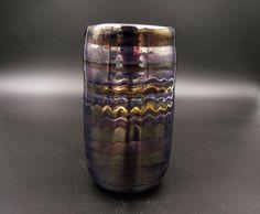 Metallic Tumbler, Sci-fi Tumbler, Purple Tumbler with Silver and Golden Spiral, Metallic Drinking Glass, Mirrored Tumbler, Art Glass Tumbler