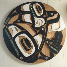 Killerwhale panel. 36 inch. Red cedar with abalone inlay. Native art by Moy Sutherland. Www.moysutherland.com