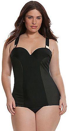 dbb06693ff Cacique Illusion side swim tank with built-in balconette bra Swimwear Sale