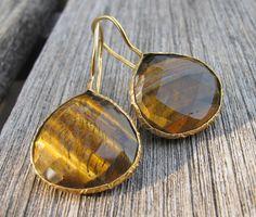 Tigers Eye Earrings- Dangle Earrings- Quartz Earrings- Topaz Earrings- Gemstone Earrings- Stone Earrings- Gold Earrings on Etsy, $72.99