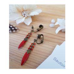 ▲ FUNNY ▲ Clips chainette natte rouge - losange bronze & épis rouge ! : Boucles d'oreille par elora