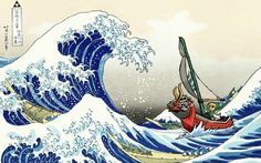 The Great Wave off Kanagawa  - Windwaker style. (I want to have this made into a wall painting)