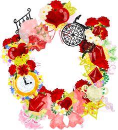 母の日のフリーイラスト素材カーネーションの雑貨で作られたリース Free Illustration of Mothers day The wreath of miscellaneous goods of carnation