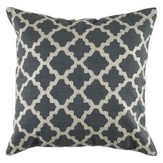 Rizzy Home Embroidered Trellis Pattern Decorative Throw Pillow Gray - T04065