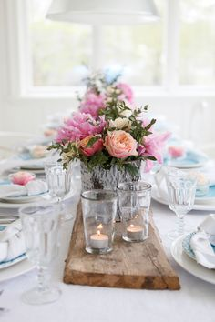 blogg - by mildred like the board the centerpieces are sitting on