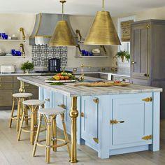 Colleen Bashaw kitchen blue brass island legs Goodman pendants brass cabinet hardware