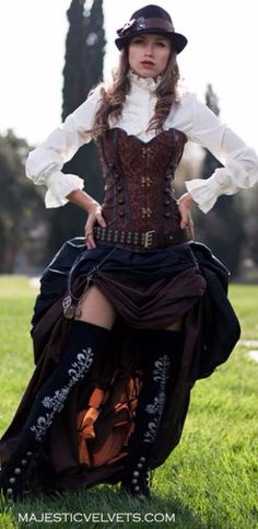 """<br>CORSET:<br> ~BACK LACING WITH 26 GROMMETS.<br> ~12 STEEL BONES OR STAYS IN FRONT,BACK AND SIDES.<br> ~STEAMPUNK BODICE IS LINED   <br>Brown Corset with Long Brown Skirt and Short Black Skirt below<br><img src=""""http://imgs.inkfrog.com/pix/ROYALCOFFERS/brown_SP_CORSET_BROWN_LONG_SKIRT_BLACK_SHRT_ANNAXS1.jpg"""" border=""""0"""">  Black Corset with Long Black Skirt and Short Wine below<br> <img src=""""http://imgs.inkfrog.com/pix/ROYALCOFFERS/black_sp_corset_blk_long_wine_shrt_sweet_peaAxs.jpg""""…"""