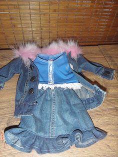 Demin jacket with pink fox fur collar, ruffled skirt and t shirt