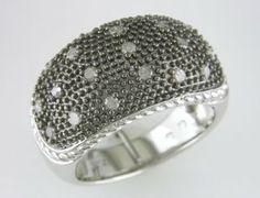 Sterling Silver 3/8 CT TDW Round Diamond Black Rhodium Plated Fashion Ring (G-H, I3) Amour. $210.99
