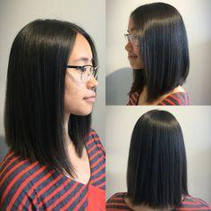 This sleek long bob works perfectly with Christina's super straight hair. Cut & styled by Jenn. #straighthair #longbob #shiny #smooth #arrojo #aveda #goldwell #behindthechair #hairbrained #modernsalon #villageonmain #northamptonma #northamptonsalon #onlyatvillage