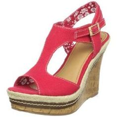 Fergalicious *Fergie* Queen red fabric cork wedge - New in box - size  8.5