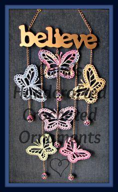 Elegant Crochet Butterfly Mobile. $45.00, via Etsy.