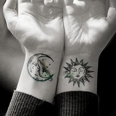 Waterproof Temporary Tattoo Sticker Sun Moon Fake Tatto Flash Tatoo Tatouage Han… – foot tattoos for women Moon Sun Tattoo, Sun Tattoos, Fake Tattoos, Couple Tattoos, Unique Tattoos, Temporary Tattoos, Sleeve Tattoos, Tatoos, Symbolic Tattoos
