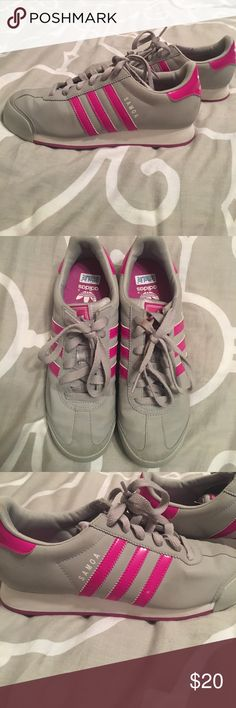 Adidas shoes Adidas Samoa shoes. Gray and pinkish/purple. Worn once- like New excellent condition. Men's size 6 which is equivalent to a woman's size 7. adidas Shoes Sneakers
