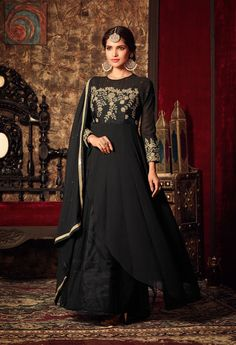 Black double layer Indian anarkali suit in georgette