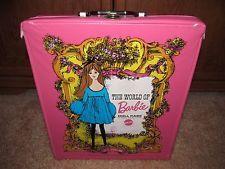 1968 Mattel #1002 The World of Barbie Doll Case Pink Vintage w/Handle