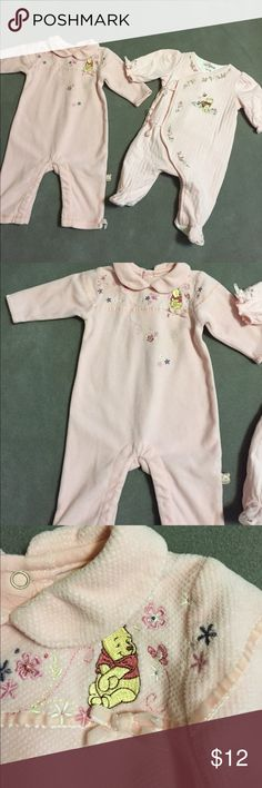 Walt Disney Collection Winnie the Pooh Walt Disney Winnie the Pooh pink footed print and romper. Size 3 months. Gently used. Good conditions. walt Disney Collection One Pieces Bodysuits