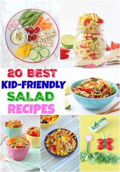 I've been looking for some inspiration for all things salad and there are so many beautiful and interesting recipes out there to try. And so in a bid to help you get your kids eating salad too, I've put together a list of my Top 20 Kid-Friendly Salad Recipes to save you the trouble of scouring the internet! #saladrecipes #saladideas #foodforkids #kidfriendlysalads Salads For Kids, Healthy Family Meals, Healthy Meals For Kids, Healthy Dinner Recipes, Kids Meals, Healthy Snacks, Healthy Eating, Picnic Recipes, Lunch Recipes