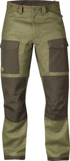 """Fjallraven Forest Trousers - Robust and well-equipped hunting trousers in exclusive Shetland wool from Abraham Moon. Exposed areas at the knees, back and leg endings are reinforced with G-1000 HeavyDuty that can be waxed for enhanced durability."""