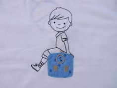 *Pupil*    T-Shirt with name for enrolment    embroidered with a school cone, a little boy and a crayon    also for girls available