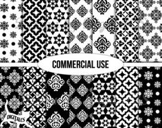 Digital paper black and white Digital scrapbook paper Wrapping paper Printable paper Commercial use