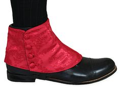 Premium Mens Button Spats - Red Duncan Jacquard (One Pair)