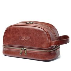 c2c6e8b858 KIPOZI Men s PU Leather Toiletry Bag Travel Size Mens Travel Bag