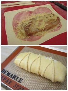 Depuis que j'ai croisé cette recette au dernier réveillon, j'avais envie de la tester. Enfin voilà, Yasmine si tu me lis , j'ai essayé et tout mon petit monde a aimé! Bon à l'origine, c'était un fromage type camembert (?)... misère, je n'avais que du... Pork Tenderloin Recipes, Pork Recipes, Pan Relleno, Pork Ham, Family Meals, Food Videos, Love Food, Food Porn, Easy Meals